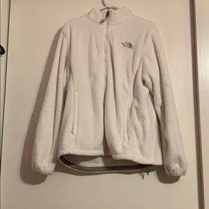 White Fuzzy North face Zip-up Jacket